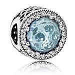 蓝色玫瑰型切割水晶银串饰