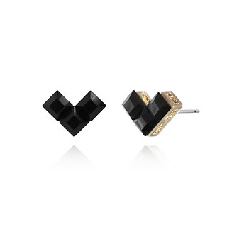 #BLACK / Heart Lego Earring