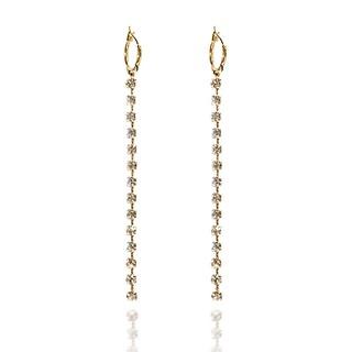 #Gold / Crystal line drop earring