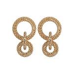 Gold Metal Double Hoop Earrings