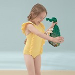 #YELLOW / GIRLS FRILL SWIMSUIT M(5-6Y)