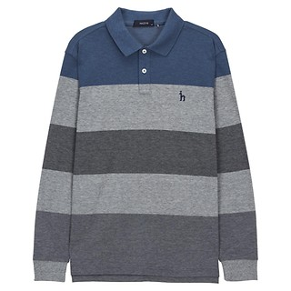 #BLUE / 컬러블록 면혼방 긴팔카라티셔츠 100