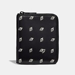 Small Zip Around Wallet In Dot Diamond Printed Leather Black/Chalk