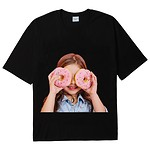 [U] #BLACK / BABY FACE SHORT SLEEVE T-SHIRT BLACK DONUT 3 / 1