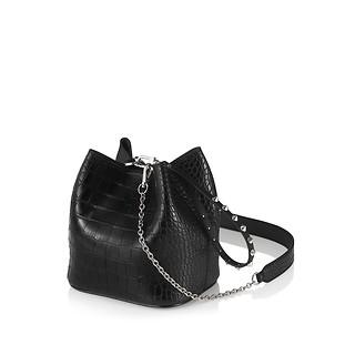 #BLACK / MINI PINGO BAG 16 CROCO LINE SET