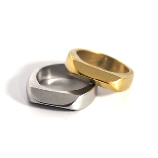 Curb Ring 1+1 Gold+Silver