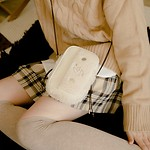 #IVORY / FLEECE STRING MINI BAG